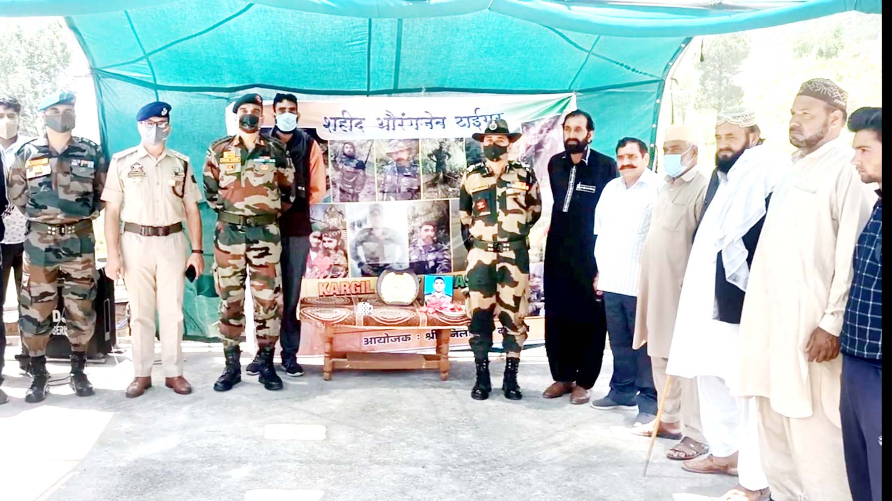 Tributes being paid to martyr Aurangzeb during a function at Salani village in Mendhar. -Excelsior/Rahi Kapoor