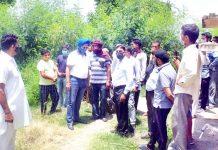 DDC Member Taranjit Singh Tony during his visit to border village of Suchetgarh on Friday.