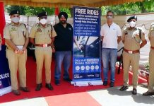Police officers during launch of free rides at DPL Jammu on Tuesday.