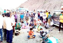 Residents during protest at Dalwas. -Excelsior/Parvaiz