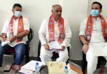 BJP leaders during a meeting at Doda on Sunday.