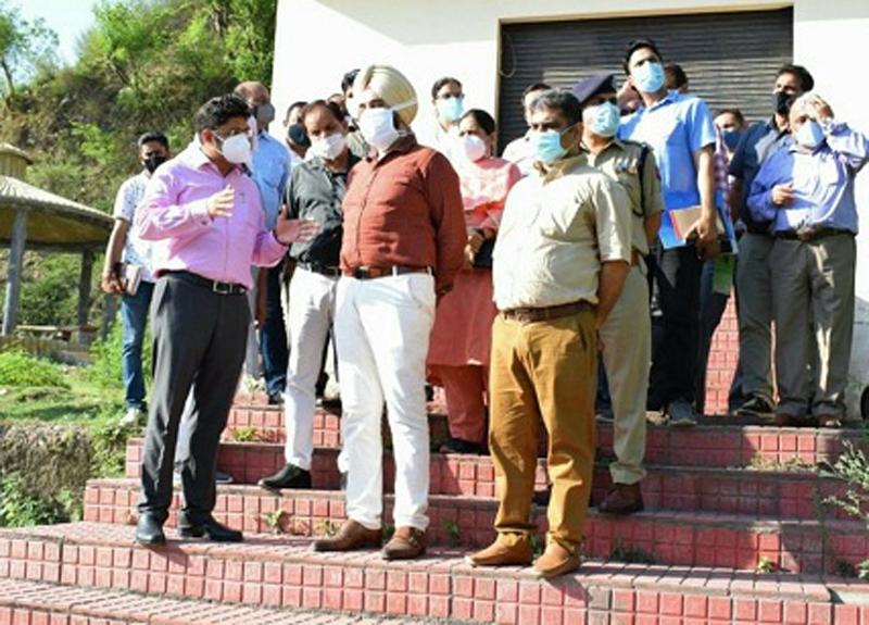 Div Com Jammu Dr Raghav Langer inspecting development works in Reasi on Sunday.