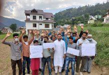 Villagers raising slogans during protest at Bhaderwah. -Excelsior/Tilak Raj