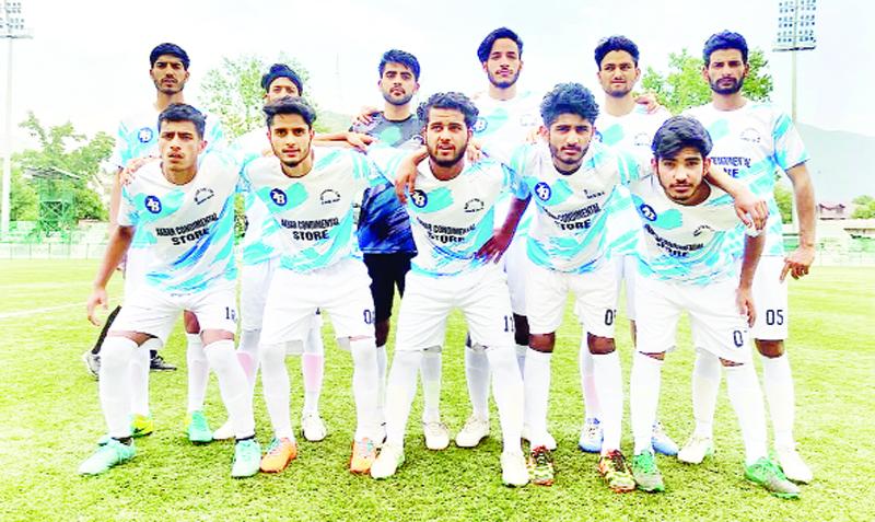 Football players posing for a group photograph during Premier UT League match at Srinagar.