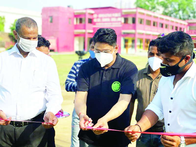 Divisional Commissioner Jammu Dr Raghav Langer cutting ribbon during 1st anniversary of SK Academy in Jammu.