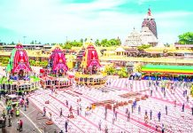 Rituals being performed during 'Lord Jagannath Ratha Yatra' without devotees amid Covid-19 lockdown restrictions, in Puri.