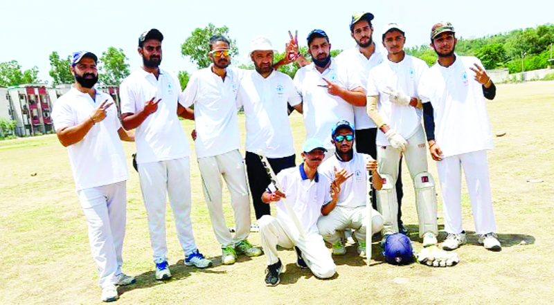 Satan Homeland CC players posing for a photograph after emerging victorious at Jagti on Monday.