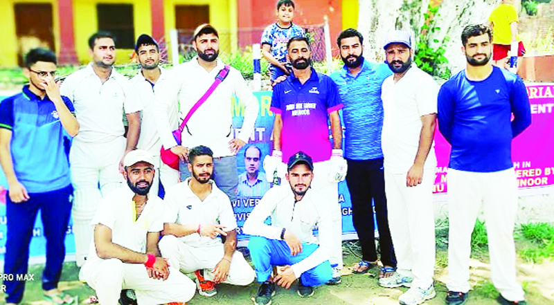 Winning team posing for group photograph at Akhnoor on Tuesday.