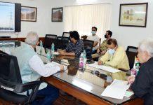 Lieutenant Governor, Manoj Sinha chairing a meeting on Saturday.