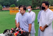 Congress leader Rahul Gandhi addresses media during the Monsoon Session of Parliament, in New Delhi.