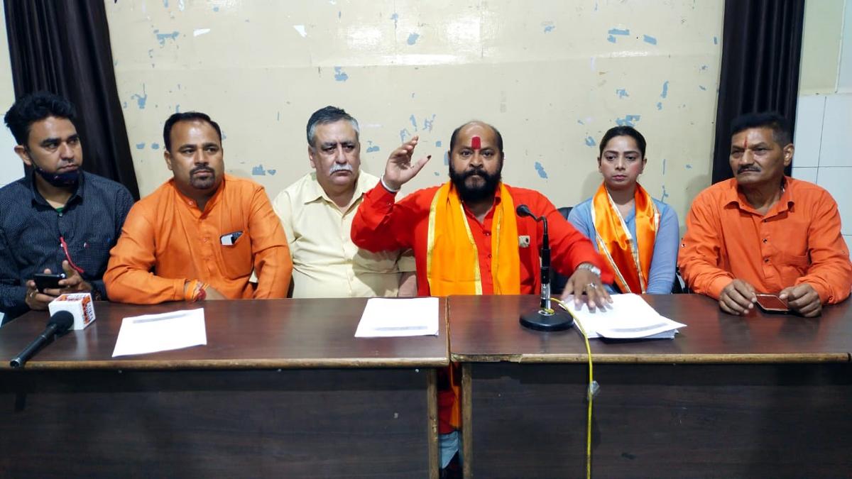 Shiv Sena JK President addressing a press conference at Jammu on Sunday.