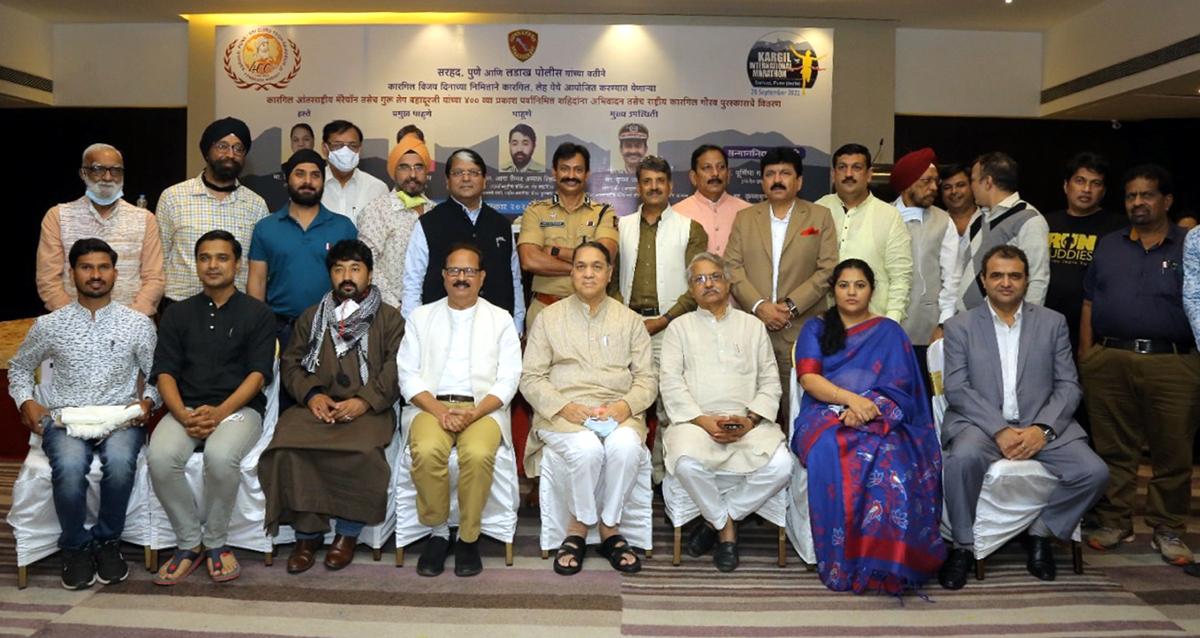Maharashtra Home Minister Dilip Walse-Patil, EC Kargil Aga Syeed Abbas Rizvi and other dignitaries during a function at Pune in Mumbai.