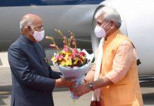 Lieutenant Governor Manoj Sinha receiving President Ram Nath Kovind on his arrival at Srinagar on Sunday.