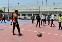 Spikers during training at MA Stadium Jammu on Friday.