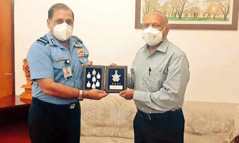 IAF chief RKS Bhadauria during a meeting with LG of Ladakh Radha Krishna Mathur in New Delhi on Monday.