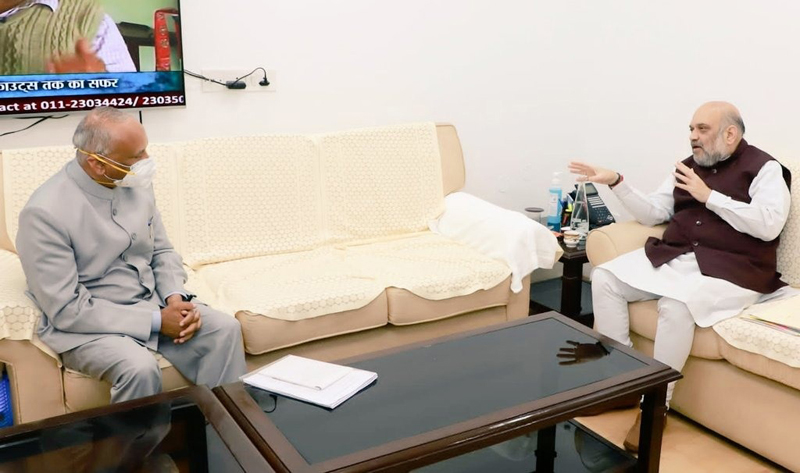 Lieutenant Governor of Ladakh Radha Krishna Mathur during a meeting with Union Home Minister Amit Shah in New Delhi on Tuesday.