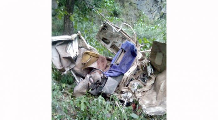 Remains of a Tata Mobile vehicle which met with an accident in Ramban district on Wednesday.