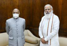 Lieutenant Governor of Ladakh Radha Krishna Mathur in a meeting with Prime Minister Narendra Modi in New Delhi on Thursday.