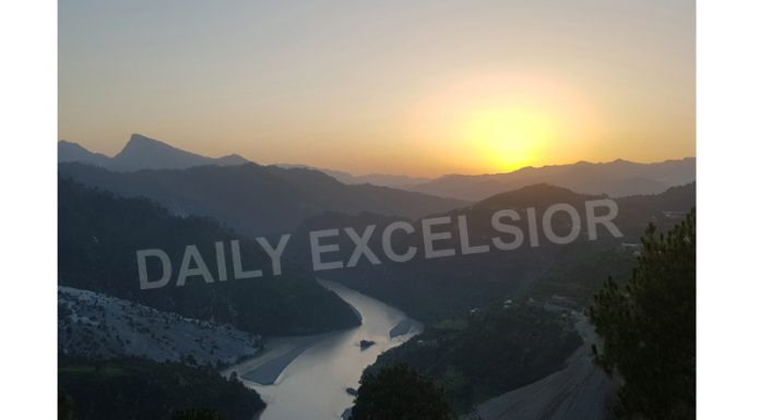Majestic view of Sunset with Chenab river flowing between the mountains near Khouri area of Reasi. — Excelsior/Romesh Mengi