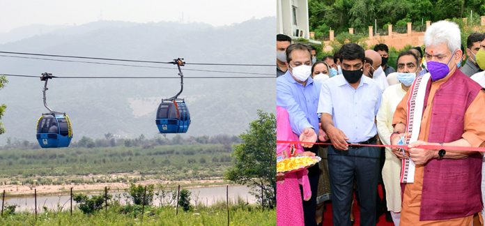 Lieutenant Governor Manoj Sinha inaugurating Peerkho-Mahamaya section of Jammu Ropeway on Friday.