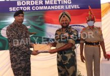 BSF and Pakistan Rangers at a Sector Commander level meeting at Suchetgarh border in Jammu on Saturday.