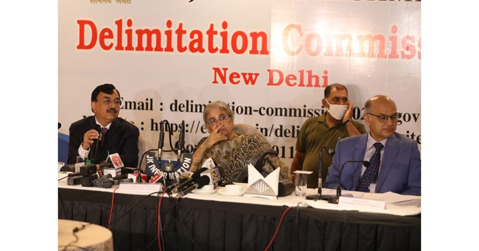Delimitation Commission chairperson Ranjana Prakash Desai, CEC Sushil Chandra and SEC K K Sharma at a press conference in Jammu on Friday. -Excelsior/Rakesh