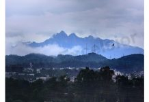 Panoramic view of Trikuta hills taken from Jammu on Monday. —Excelsior/Rakesh