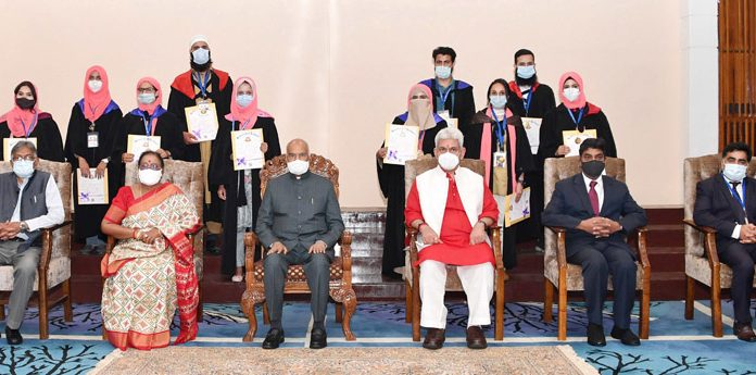 President Ram Nath Kovind at the 19th annual convocation of University of Kashmir in Srinagar on Tuesday. Lt Governor Manoj Sinha is also seen. (UNI)