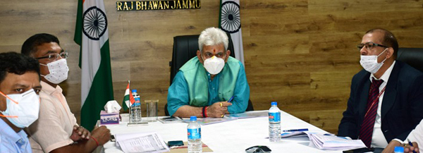Lieutenant Governor Manoj Sinha reviewing NHIDCL projects in Jammu on Friday.