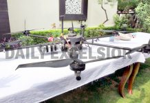 A drone shot down by the cops at Kanachak in Jammu district on Friday. Another pic on page 4. -Excelsior/Rakesh