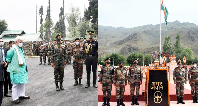 President Ram Nath Kovind flanked by Lt Governor Manoj Sinha taking salute after interacting with officers and jawans of Chinar Corps and High Altitude Warfare School at Gulmarg (left) and senior Army officers paying tributes to soldiers at Kargil War Memorial in Drass (right) on Monday (UNI).