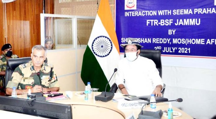 Union MoS Home G K Reddy reviewing security situation with top BSF officials in Jammu on Friday.