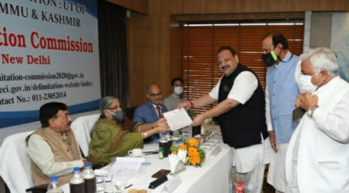 The Delimitation Commission receiving memorandum from NC provincial president Devender Singh Rana in Jammu on Thursday.