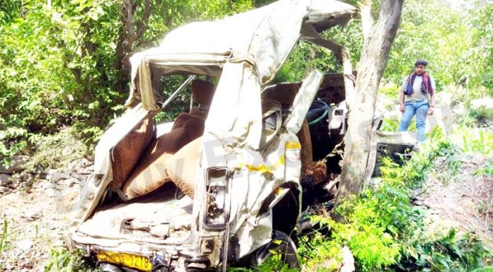 Ill-fated vehicle after accident near Digdole area in district Ramban. -Excelsior/Parvaiz
