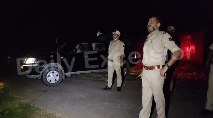 Police maintaining high alert at Ghagwal after movement of drone on Thursday night. — Excelsior/Nischant
