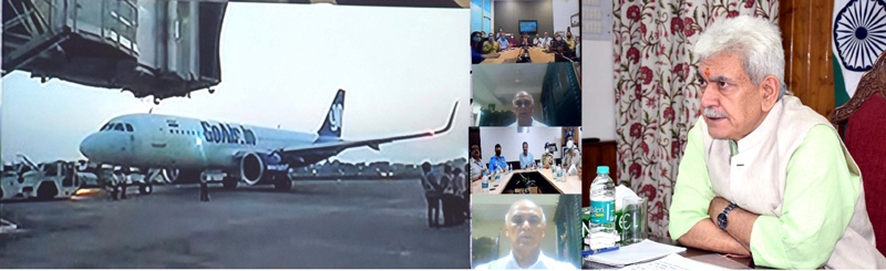 Lieutenant Governor Manoj Sinha inaugurating night flight team operations at Jammu Airport on Friday.