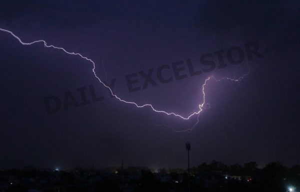 A view of lightning in the sky during thunderstorm in Jammu on Thursday night which brought slight relief for Jammuites from scorching heat. The thunderstorm brought down the temperature. —Excelsior/Rakesh