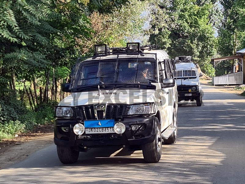 Security forces during encounter at Warpora area of Sopore on Friday. -Excelsior/Aabid Nabi