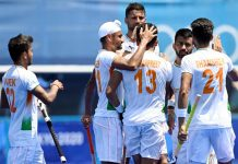Indian Men's Hockey Team players celebrating after beating New Zealand by 3-2 at Tokyo-2020 Summer Olympics on Saturday.