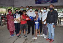 Players and dignitaries during inaugural ceremony of Boxing Championship at MA Stadium Jammu.