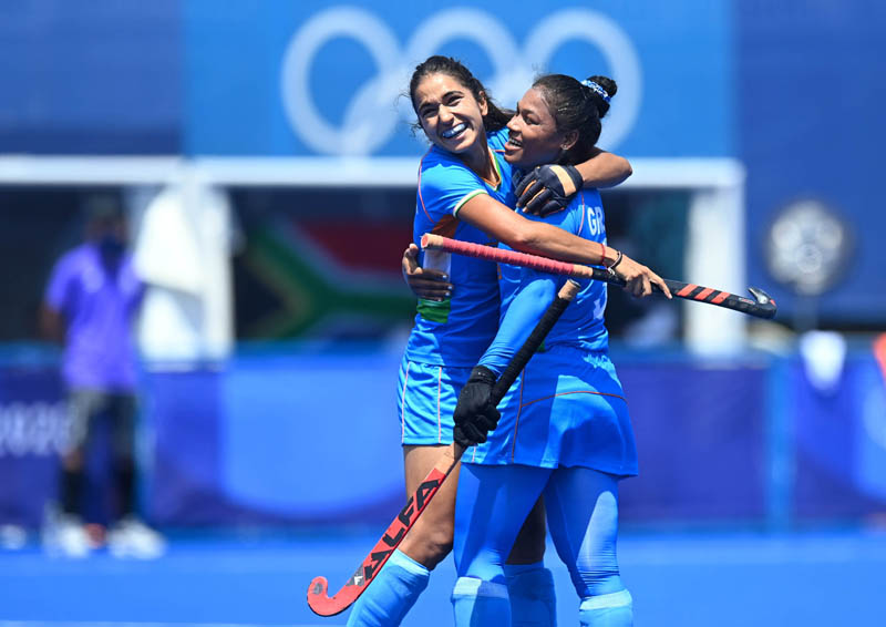 Indian Women hockey player celebrating victory over South Africa on Saturday.