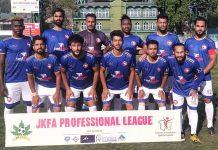 Winning team posing for a group photograph at TRC Ground Srinagar on Saturday.