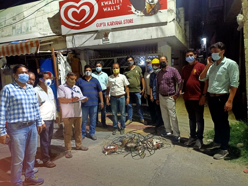 JPDCL team alongwith seizure of heaters during surprise checking in Janipur area in Jammu on Thursday.