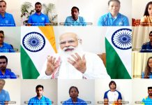 Prime Minister Narendra Modi interacting with the Indian athletes' contingent bound for Tokyo Olympics through video conference on Tuesday.