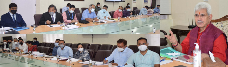 Lieutenant Governor, Manoj Sinha reviewing functioning of H&UDD on Tuesday.