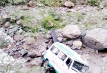 Ill-fated ambulance after accident in Ramban. -Excelsior/Pervaiz