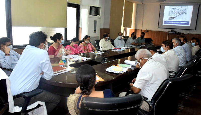 Divisional Commissioner Jammu chairing a meeting on Sunday.