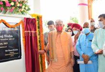 Lt Governor Manoj Sinha inaugurating Govt Ayurvedic Medical College at Akhnoor on Wednesday.