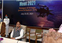 LG Manoj Sinha speaking during Young Thinkers Meet at SKICC, Srinagar.