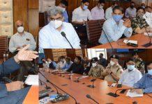 Chief Secretary Dr Arun K Mehta chairing a meeting on Friday.